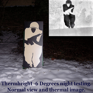 ThermBright target at -6 degrees night testing normal and thermal view