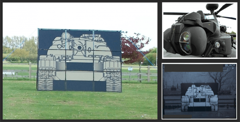 Attack helicopter with visual and thermal view of a tank target