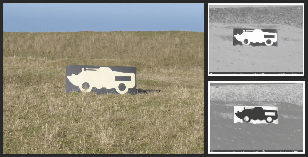 Armoured vehicle ThermBright target in visual and thermal views