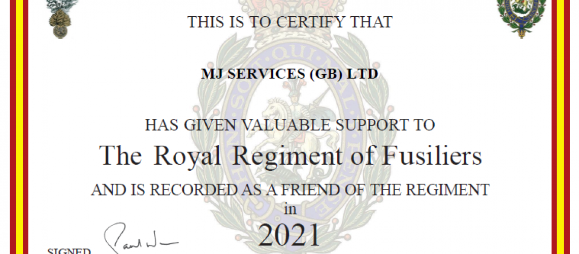 Royal Regiment of Fusiliers Support Certificate